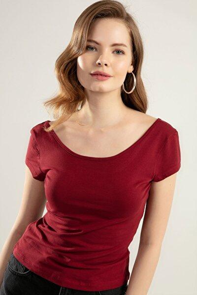 Kadın Geniş Yaka Kısa Kollu Tişört Y20s126-10534