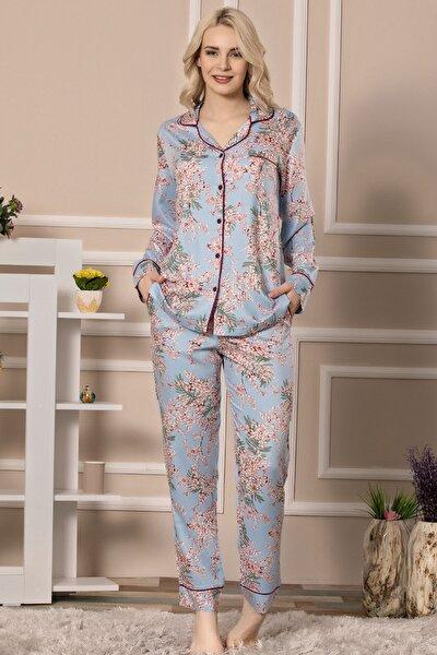 Kadın Pamuk Saten Uzun Kollu Pijama Takımı
