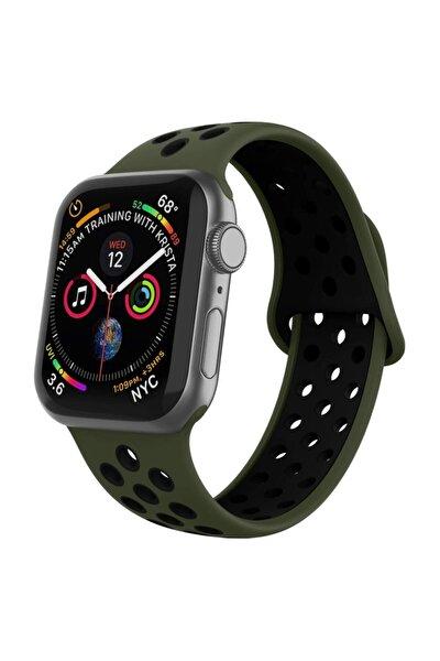 Apple Watch Silikon Delikli Kordon Iwatch Uyumlu Kayış Seri 1 2 3 4 5 - 42mm/44mm - Koyu Yeşil Siyah