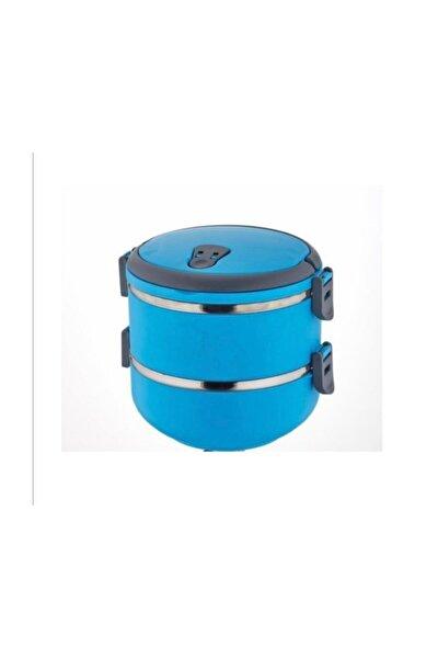 2 Li Mandallı Sefer Tası Çelik Yemek Termosu Mavi
