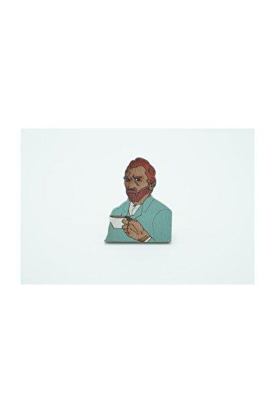 Van Gogh Kahve Ahşap El Boyaması Broş