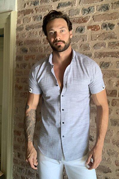 Lacivert Erkek Kısa Kollu Fileto Cepli Gömlek Yaka Slim Fit Gömlek TMNSS20GO0253