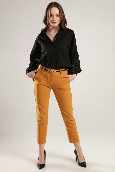 Kadın Sarı Zincir Şeritli Pantolon 6325 Y19W109-6325