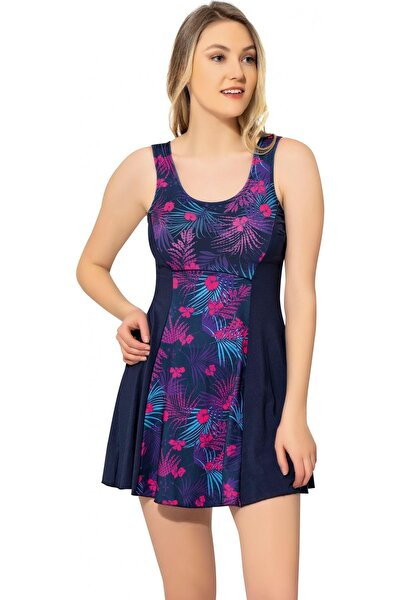 Kadın Desenli Parçalı Şortlu Elbise Mayo 6513 Desenli Lacivert Büyük Beden