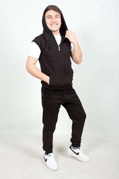 Sevgili Kombini Kapüşonlu Siyah Yelek - Beyaz Kısa Kol Tişört - Siyah Eşofman Takımı