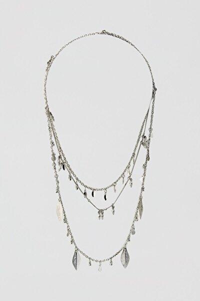 Kadın Gümüş Yaprak Uçlu Kolye Seti 05992312
