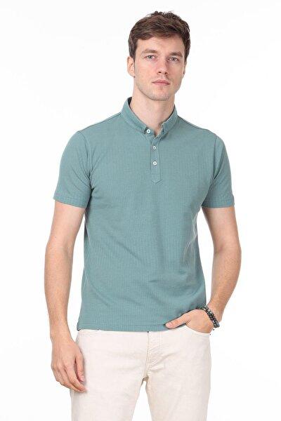 Erkek Açık Yeşil Jakarlı Örme T - Shirt RP10119895