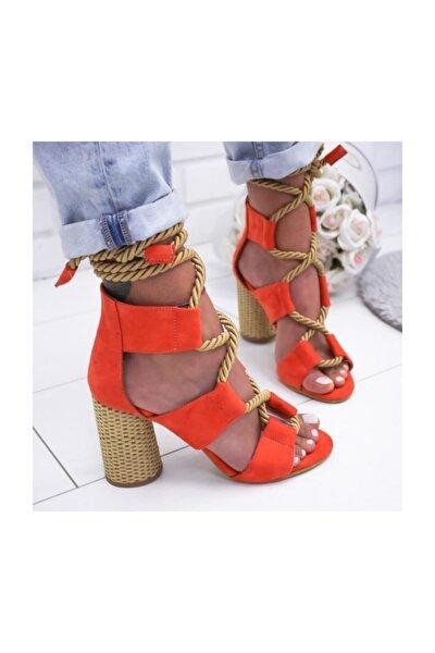Turuncu Kadın Klasik Topuklu Ayakkabı 2LUK500
