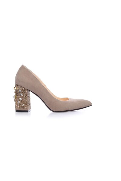Hakiki Deri Bej Kadın Kalın Topuklu Ayakkabı 122 8468 BN AYK