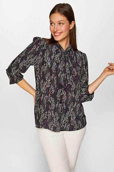 Kadın Siyah Çıtır Çiçek desenli Kravat yaka Gömlek 60424 U60424