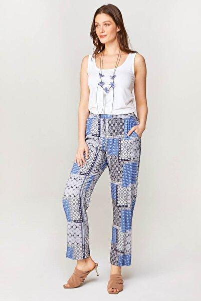Kadın Mavi Comfort Fit Patchwork Desenli Pantolon 60572 U60572
