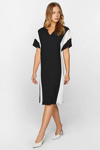 Kadın Siyah Blok Renkli Elbise 60304 U60304