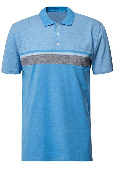 Erkek Mavi Polo Yaka Cepli Regular Fit Bol Kesim Jakarlı Tişört