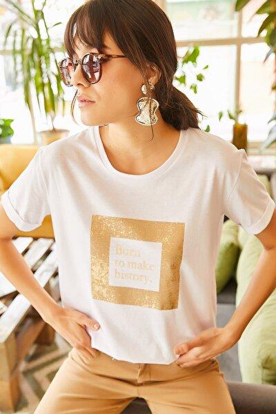 Kadın Beyaz Sim Detaylı T-shirt TSH-19000322