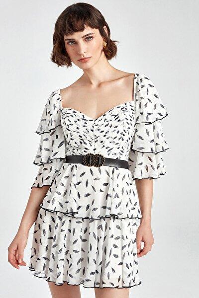 Kadın Ekru Drapeli Mini Elbise N20Y-2209-0014