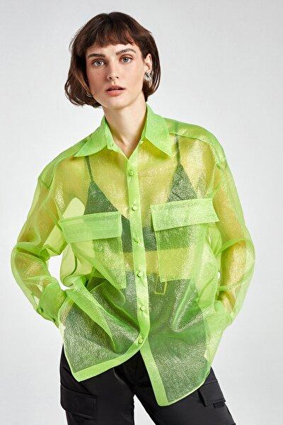 Kadın Yeşil Simli Organze Gömlek N20Y-6215-0030