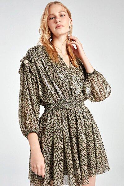 Kadın Desenli Kruvaze Parlak Desenli Mini Elbise N20Y-2222-0007
