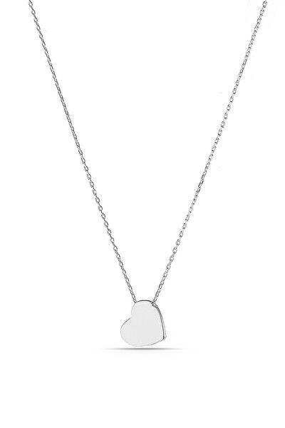 Kadın Gümüş Minimal Kalpli Kolye