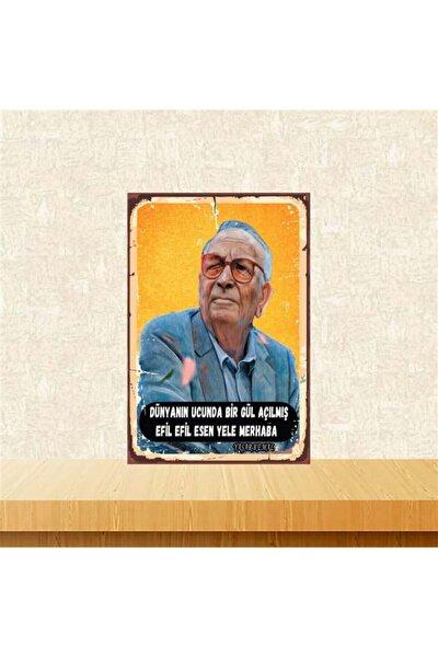 Yaşar Kemal 20 30 cm Retro Ahşap Poster Tkfx4113