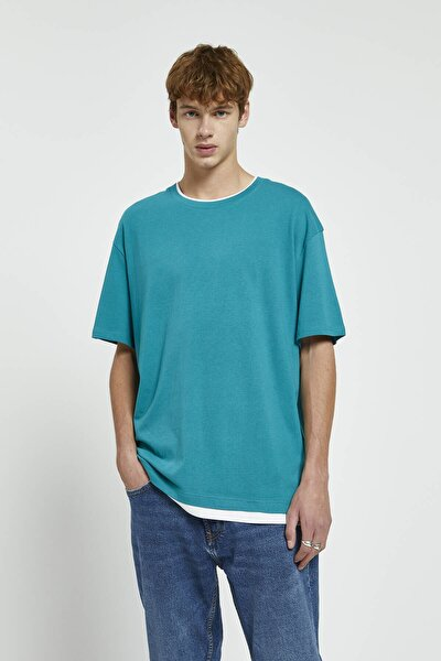Erkek Orta Yeşil Kontrast Duble Yaka T-Shirt 09244940