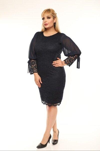 Kadın Siyah Büyük Beden Güpür Kolu Şifon Abiye Elbise