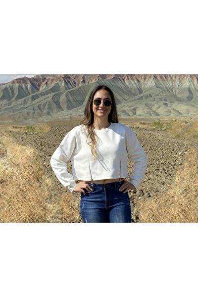 Kadın Ekrü  Fermuar Detaylı Crop Sweatshirt