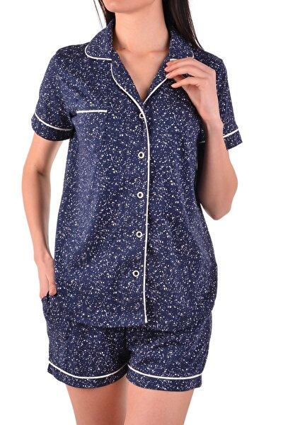 Kadın Lacivert  Şortlu Kısa Kollu Düğmeli Pijama Takımı