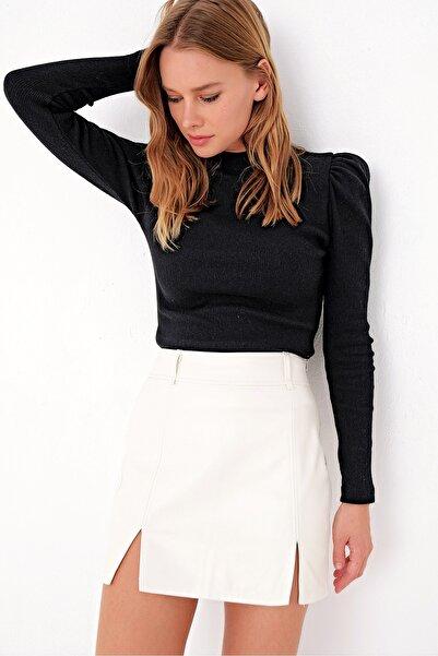Kadın Siyah Prenses Kol Yarım Balıkçı Şardonlu Crop Bluz ALC-X5042