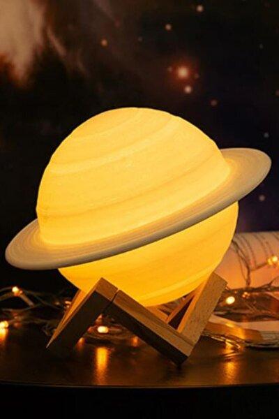 3d Print Satürn Dokunmatik Gezegen Ahşap Stantlı 3 Renk Usb Şarjlı Gece Lambası (kumandasız)
