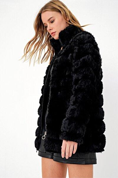 Kadın Siyah Peluş Suni Kürk Ceket ALC-X3037