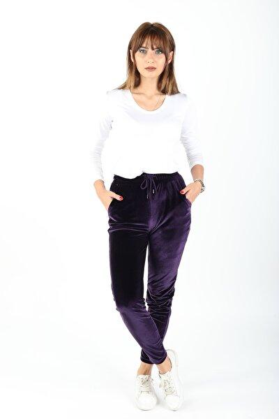 Kadın Mor Kadife Pantolon