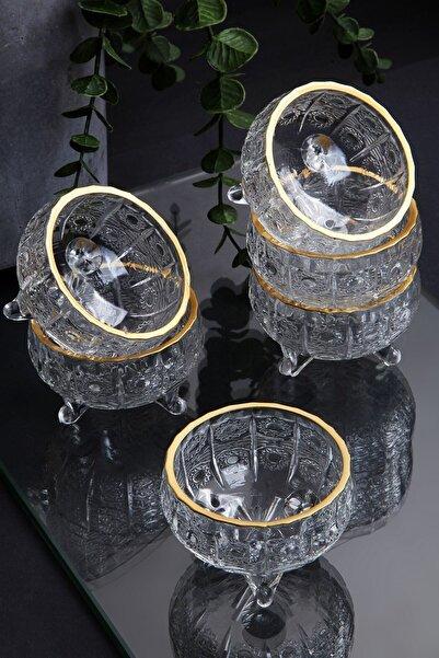 6 Adet Kristal Yaldızlı Cam 3 Ayaklı Lüx Lokumluk-çerezlik