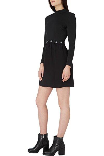 Kadın Siyah Logo Elastıc Dress Elbise