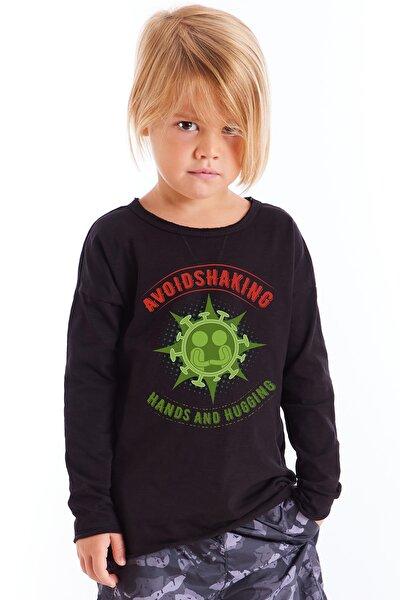Çocuk Siyah Baskılı Tshirt