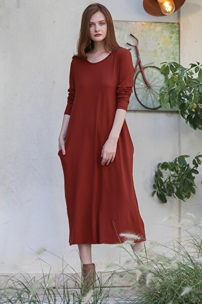 Kadın Kiremit Vintage Gizli Cepli Salaş Elbise M10160000EL97767