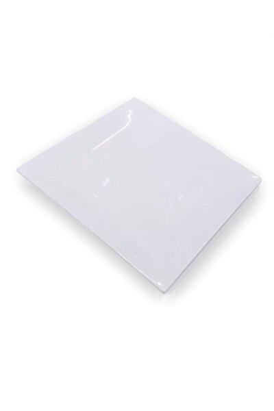 Beyaz Sushi Servis Tabağı Kalın Thermo Melamin Tabak 21x21 cm