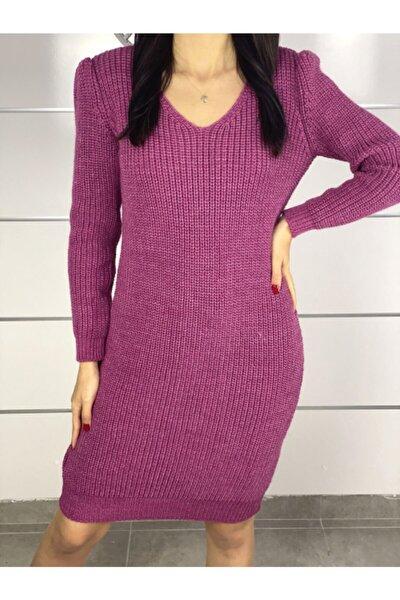 Yeni Model Kadın V Yaka Yırtmaç Detay Triko Elbise (pembe)