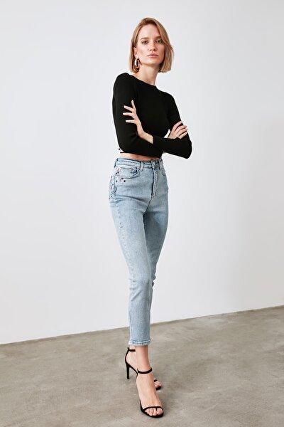 Mavi Nakış Detaylı Yüksek Bel Slim Fit Jeans TWOAW21JE0255