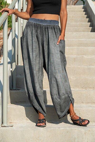 Kadın Antrasit Yıkamalı Keten Cepli Beli Lastikli Şalvar Pantolon GK-CCK58048