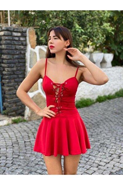 Kadın Kırmızı Göğsü Kuşgözü Bağcıklı Kloş Mini Seksi Elbise