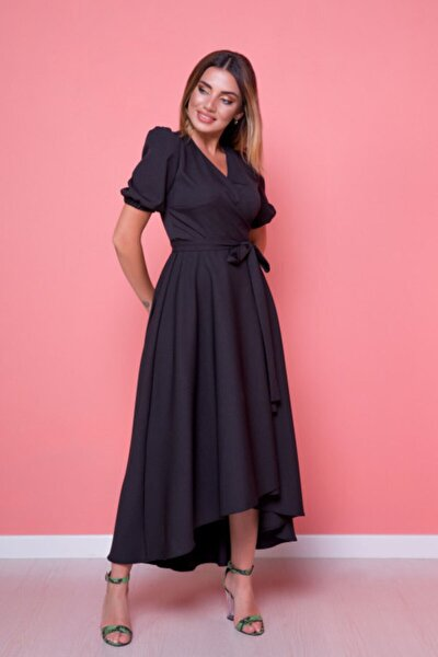 Kadın Siyah Büyük Beden Asimetrik Kesim Elbise
