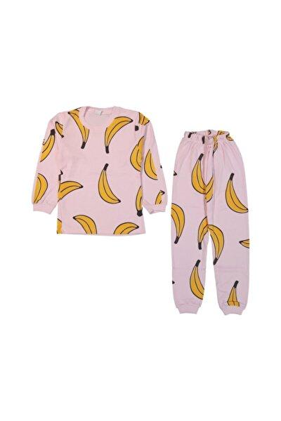 Kız Çocuk 1-6 Yaş Muz Baskılı Pijama Takımı