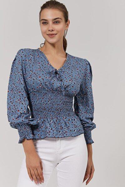 Kadın Çiçekli Büzgü Lastikli Bluz Y20w191-5221