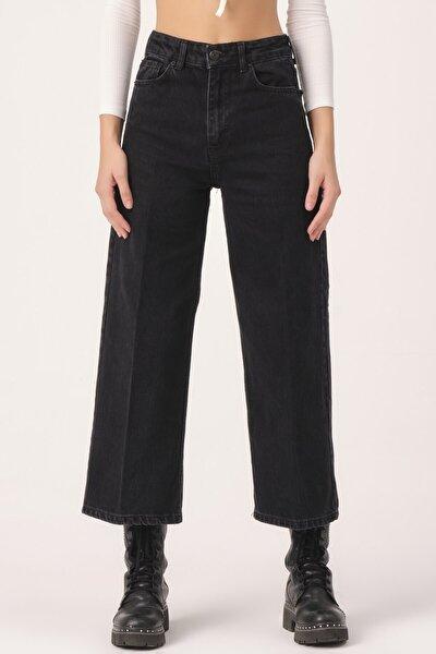 Kadın Black Od Wide Leg Kalıp Bol Paça Jean