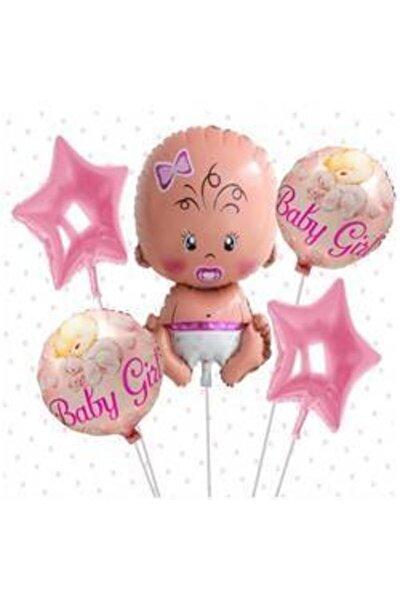 Bebek Temalı 5'li Pembe Folyo Balon Set