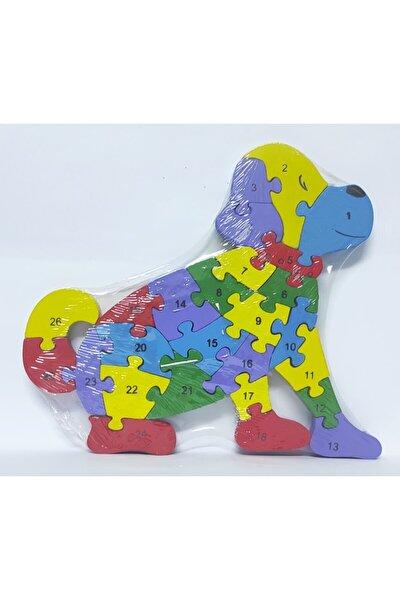 Köpek Şeklinde 26 Parça Ahşap Sayılar Ve Rakamlar Yapboz