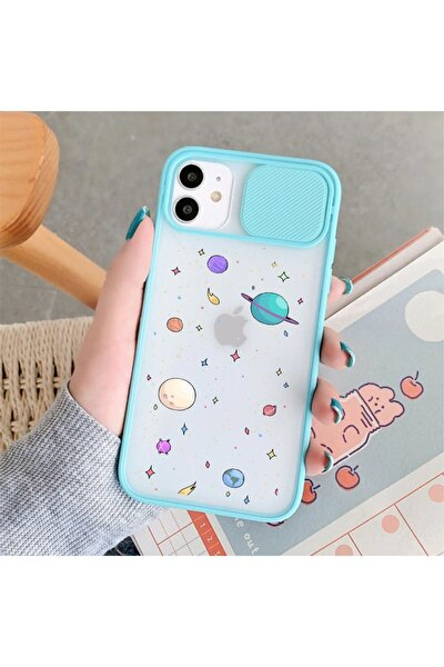 Iphone 11 Gezegenler Desenli Kamera Korumalı Mint Telefon Kılıfı