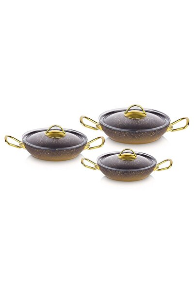 6 Parça Granit Sahan Seti Gold Cam Kapak