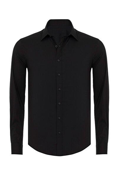 Erkek Siyah Mat Saten Slim Fit Gömlek