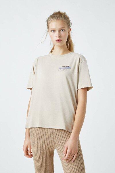 Kadın Kahverengi Kontrast Sloganlı Kahverengi T-Shirt 09249360